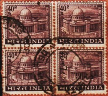 USED DEFINITIVE STAMP IN BLOCK ON PAPER/40p G.P. O.CALCUTTA (Issued In 1968) - Blocks & Sheetlets