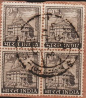 USED DEFINITIVE STAMP IN BLOCK ON PAPER/60p SOMENATH TEMPLE (Issued In 1967) - Blocks & Sheetlets