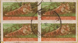 USED DEFINITIVE STAMP IN BLOCK ON PAPER / 1000  TIGER (Issued In 2000) - Blocks & Sheetlets