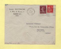 Frankers - Paris 43 - 7 Lignes Ondulees + Bloc Dateur Simple Cercle - 1937 - Postmark Collection (Covers)