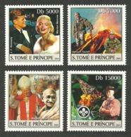 ST THOMAS & PRINCE 2004 CELEBRITIES MONROE SCOUTS VOLCANO GANDHI SET MNH - Sao Tome And Principe