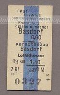 BRD - Pappfahrkarte (Reichsbahn) -Basdorf - Lottschesee / Anschluß-Sonntagsrück - Bahn