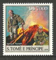 ST THOMAS & PRINCE 2004 CELEBRITIES TAZIEFF VOLCANO SINGLE MNH - Sao Tome And Principe