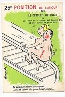 25è Position De L'Amour : La Descente Infernale Alexandre Illustrateur (La Gauloiserie Cp Vierge) Feu Rampe Escalier - Humour