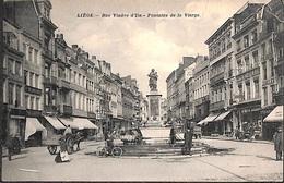 Liège - Rue Vinave D'Ile - Fontaine De La Vierge (top Animation, Attelage, Cheval, Vélo, Travaux... Pli Coin) - Liege