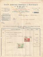 Facture Union Agricole Chimique Electrique UNAC 1933 Vers Brasserie J Coenen  Bury (réparation Moteur Et Capsuleuse - Belgium