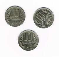 BULGARIJE  3 X 10  STOTINKI  1962/74/81 - Bulgarie