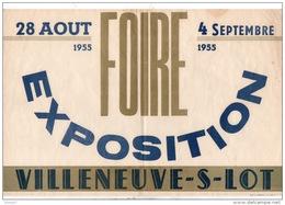 47 - VILLENEUVE-SUR-LOT . AFFICHETTE PUBLICITAIRE . FOIRE EXPOSITION DU 28 AOÛT AU 4 SEPTEMBRE 1955 - Réf. N°112F - - Pubblicitari