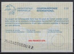 HAUTE VOLTA / BURKINA FASO La26A  300 FRANCS CFA International Reply Coupon Reponse Antwortschein IAS IRC  O OUAGADOUGOU - Burkina Faso (1984-...)