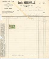 Facture Louis Henrioulle Matériaux Construction,plaques En Platre,1934 Vers Brasserie J Coenen JODOIGNE - Belgium