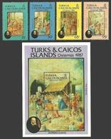 TURKS & CAICOS 1987 ART CLOVIO BOOK OF HOURS CHRISTMAS SET & M/SHEET MNH - Turks And Caicos
