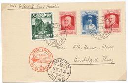Liechtenstein 1930: VOL DU ZEPPELIN 14.IX.30 GENÈVE Auf Karte Ab VADUZ 11.IX.30 Mit AK-o ZÜRICH 14.IX.30 - Air Post