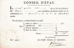 1813 - CONSEIL D' ÉTAT - Réclamation Du Sir ARNAUD Et De La Marquise De MONTALET - Documents Historiques