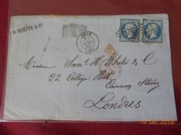 Lettre Avec No 14Aen Deux Exemplaires A Destination De Londres. ( DEVANT DE LETTRE) - Storia Postale