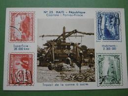 Chromo à Timbres Imprimés Carte N° 23 HAITI République Capitale PORT-AU-PRINCE Travail De La Canne à Sucre - Chromos
