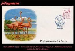 AMERICA. COLOMBIA SPD-FDC. 1987 EMISIÓN PERMANENTE. FAUNA COLOMBIANA. FLAMENCO ROSADO - Colombie