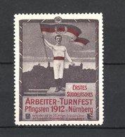 Reklamemarke Nürnberg, Erstes Deutsches Arbeiter-Turnfest 1912, Sportler Mit Flagge - Erinnofilie