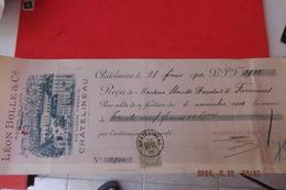 Ordre De Banque Leon Bolle Et Cie A Chatelineau  1901 Belgique Timbres Scans - Bank & Insurance