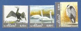 Älandinseln  2005  Mi.Nr. 244 / 246 , Kormoran + Singschwan + Graureiher - Postfrisch / MNH / (**) - Aland