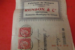 Ordre De Banque Renson Et Cie Construteurs Bomeree-montigny-le-tilleul  Belgique Timbres Scans - Bank & Insurance