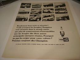 ANCIENNE AFFICHE PUBLICITE POUR TOUTE LES VOITURE  BOUGIE CHAMPION 1967 - Transportation