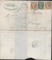 YT Siège 36 X2 10c Bistre + 5 Ct Empire Dentelé Vert Jaune Terne Caractéristique De 1871 GC 896 CAD Charenton Le Pont - Marcophilie (Lettres)