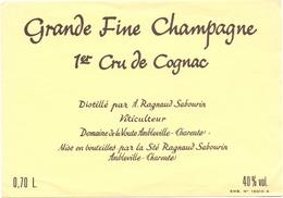 Etiket Etiquette - Grande Fine Champagne - 1° Cru Du Cognac - Ragnaud Sabourin - Ambleville  0.70 L. - Labels