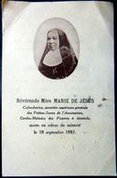 FAIRE PART DE DECES MEMENTO MORI REVERENDE MARIE DE JESUS GENEALOGIE   AVEC PHOTO - Décès