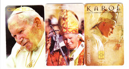 Mexico Phonecard LADATEL TELMEX Pope Juan Pablo II, 3 Cards No Credit Used - Mexico