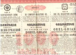 OBLIGATION  DE LA COMPAGNIE DU CHEMIN DE FER D OREL GRIASI 1889 - Railway & Tramway