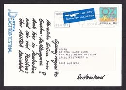 Australia: Picture Postcard To Germany, 1990, 1 Stamp, Medical Advertorial Antra Omeprazol Medicine (traces Of Use) - 1990-99 Elizabeth II