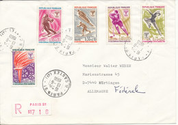 France Registered Cover Sent To Germany Paris 13-6-1968 With Complete Set Of 5 Winter Olympic Grenoble - Covers & Documents
