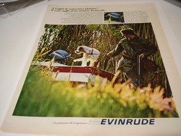 ANCIENNE PUBLICITE BATEAU MOTEUR EVINRUDE 1963 - Publicités