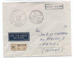 Somalia/Italy PORT PAYE STAMPLESS POST REGISTERED AIRMAIL COVER 1960 - Somalia (1960-...)