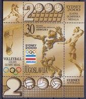 Yugoslavia 2000 Sidney Olympic Games, Australia, Sport, Volleyball Gold Medal, Block, Souvenir Sheet MNH - Sommer 2000: Sydney - Paralympics