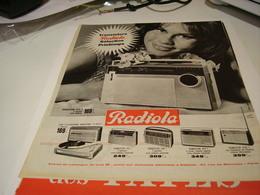 ANCIENNE PUBLICITE TRANSISTORS RADIOLA  1963 - Plakate & Poster