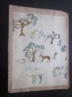 1944 Marseille Cahier D'école Manuscrit D'écolier Apprentissage écriture Porte Plume à Encre Dessins Au Cray - Other Collections