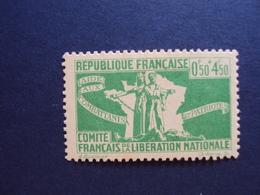 """1943-Timbre Neuf N°60  - C.F.L.N. """"0.50+4.50f Vert- Cote  1.50 Net 0.50 - Libération"""