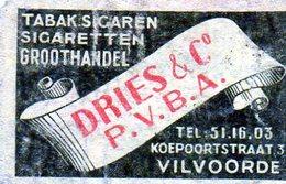 Dries Et Co Vilvoorde Tabac Cigarette - Matchbox Labels