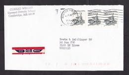 USA: Airmail Cover To Netherlands, 1996, 3 Stamps, Cog Railway, Train, Steam Engine (air Label Damaged) - Verenigde Staten