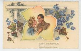 """Jolie Carte Fantaisie Couple Amoureux """"LE LIERRE ET SON SYMBOLE """"- Illustrateur Germaine BOURET (non Signée) - Bouret, Germaine"""