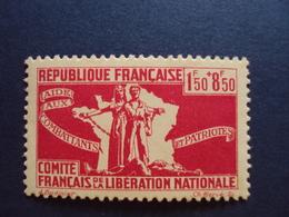 "1943-Timbre Neuf N°61  - C.F.L.N. ""1.50f+8f.50- Cote  1.50 Net 0.50 - Libération"