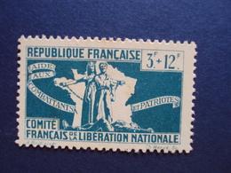 """1943-Timbre Neuf N°62  - C.F.L.N. """"3f+12f Bleu- Cote  1.50 Net 0.50 - Libération"""