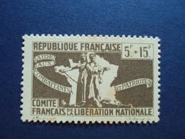 "1943-Timbre Neuf N° 63 - C.F.L.N. ""5f+15f-brun- Cote  1.50 Net 0.50 - Libération"