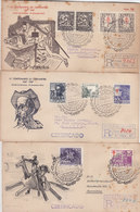 EDIFIL 1012/4 Y 1917/9 -3 SOBRES ILUSTRADOS M.E. IV CENTENARIO CERVANTES-ALCALA DE HENARES-1947- VER DESCRIPCION - 1931-Oggi: 2. Rep. - ... Juan Carlos I
