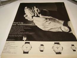 ANCIENNE PUBLICITE MONTRE FRED LIP 1963 - Publicités