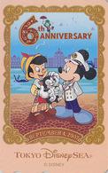 Télécarte NEUVE Japon - DISNEY SEA - 6th Anniversary - MICKEY PINOCCHIO & VENISE - Japan MINT Phonecard - Disney