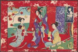 Samurai Standing Between Two Seated Geishas, 1904 - Tuck's Real Japanese Postcard - Japan