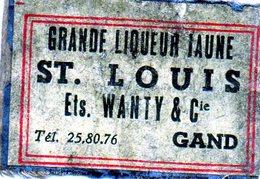 St Louis Wanty Gand Liqueur Alcool - Matchbox Labels