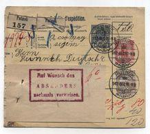Hungary PUTNOK PARCEL CARD TO Austria 1912 - Paketmarken